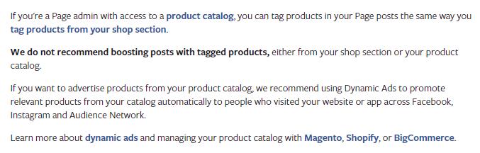 Facebook product tags boost je beter niet volgens Facebook