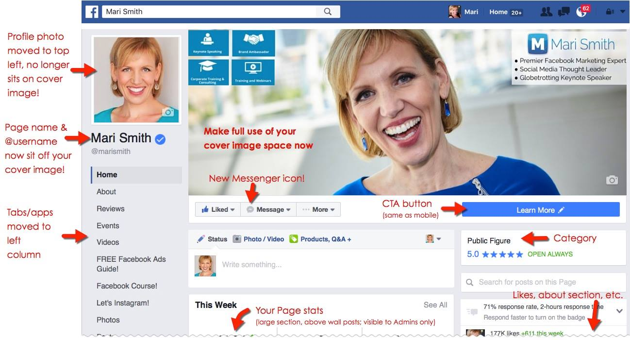 Nieuwe Facebook Pagina layout door Mari Smith