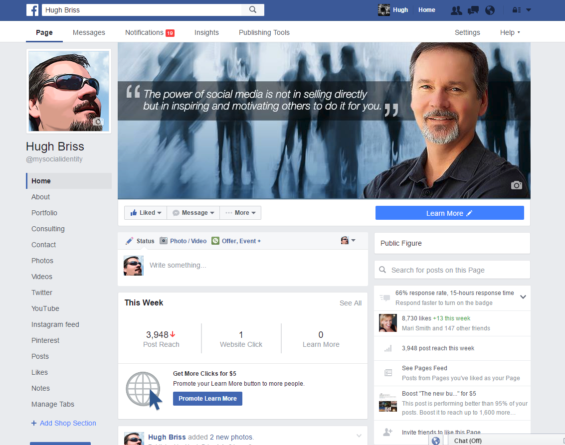 Nieuwe Facebook Pagina layout door Hugh Briss