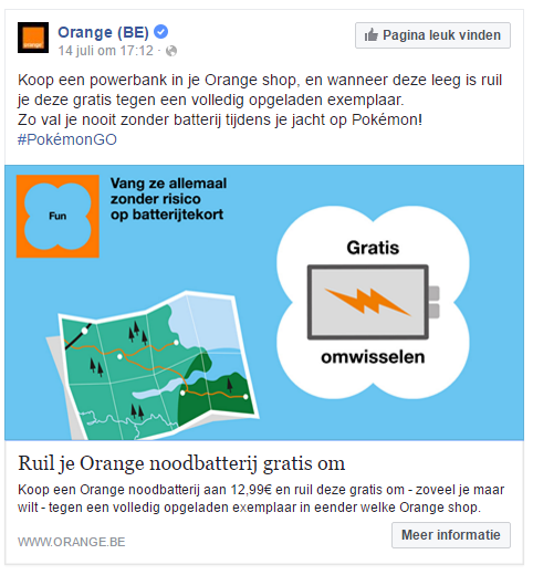 Pokémon Go op sociale media - Orange