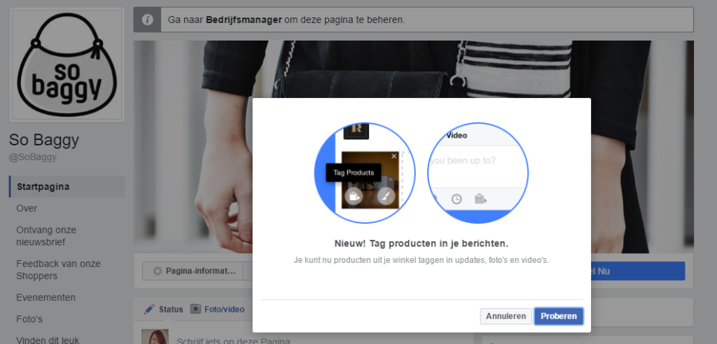 Tag producten in Facebook updates