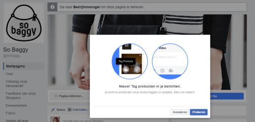 Tag producten in Facebook updates