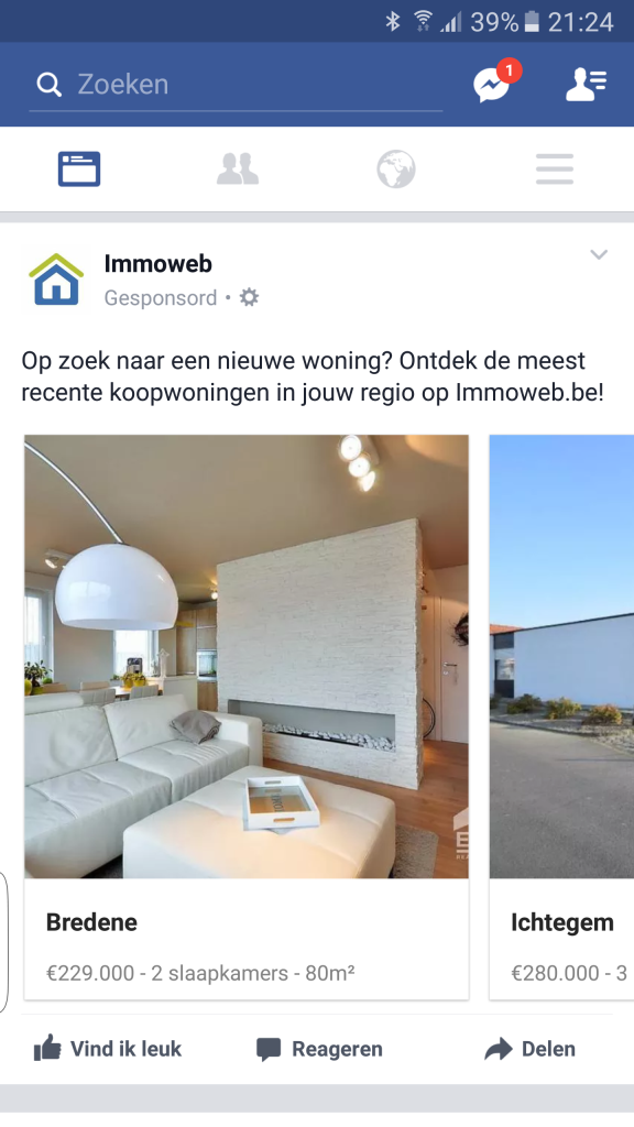 Facebook advertentie Immoweb