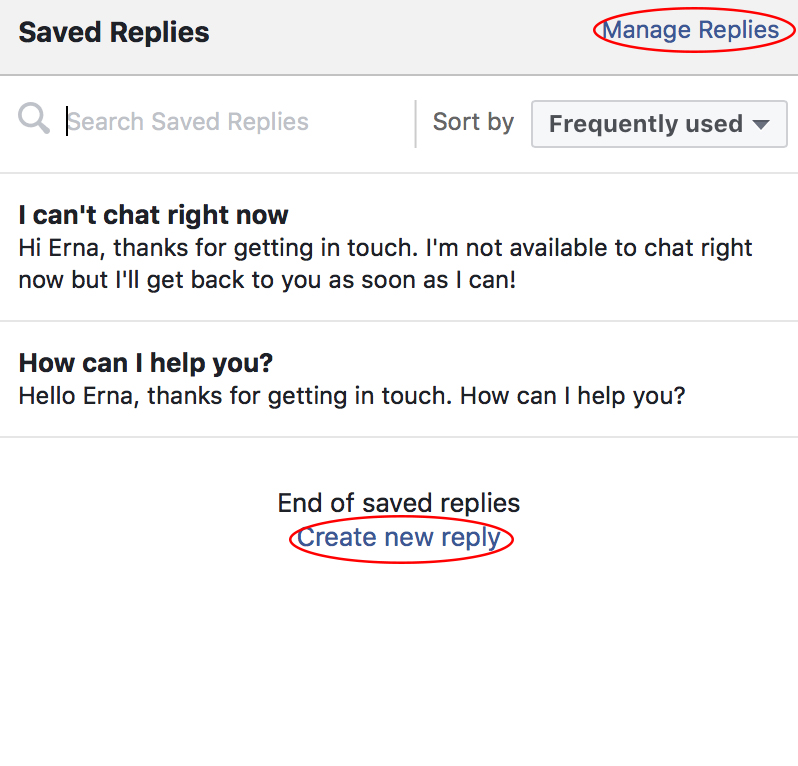 Facebook saved replies