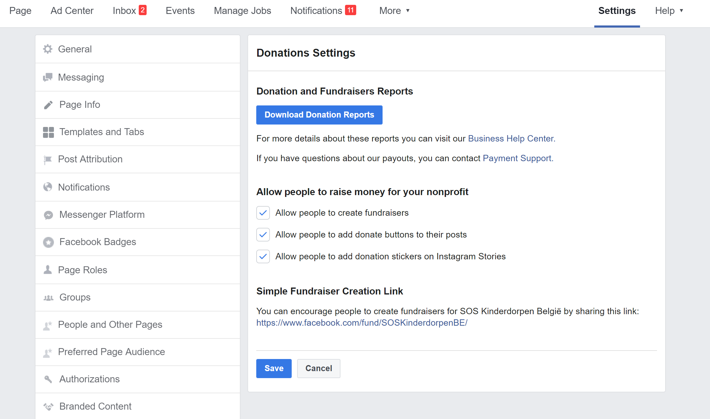 Facebook Donations instellingen