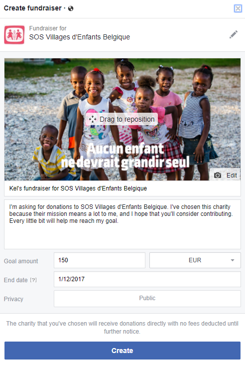 Facebook donations