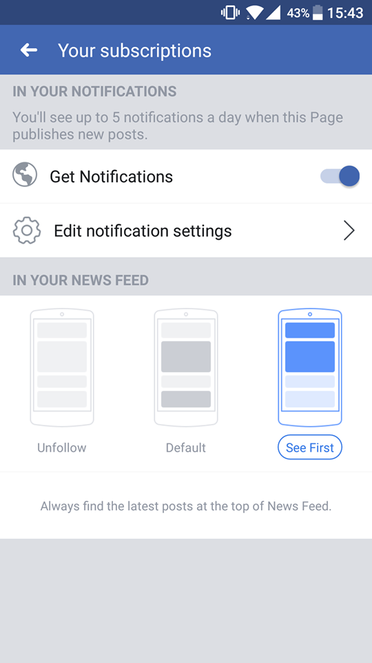 Facebook your subscriptions