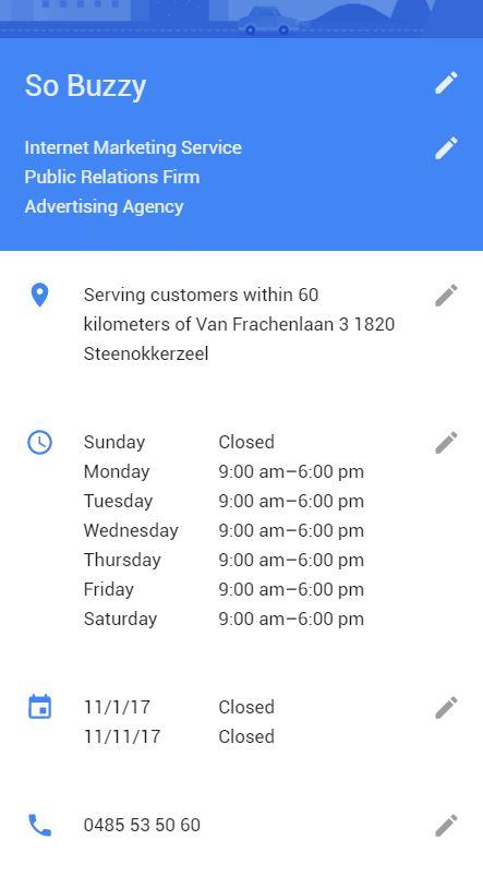 Google bedrijfspagina aanmaken informatie