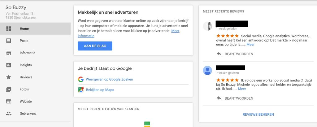 Google bedrijfspagina aanmaken homepage