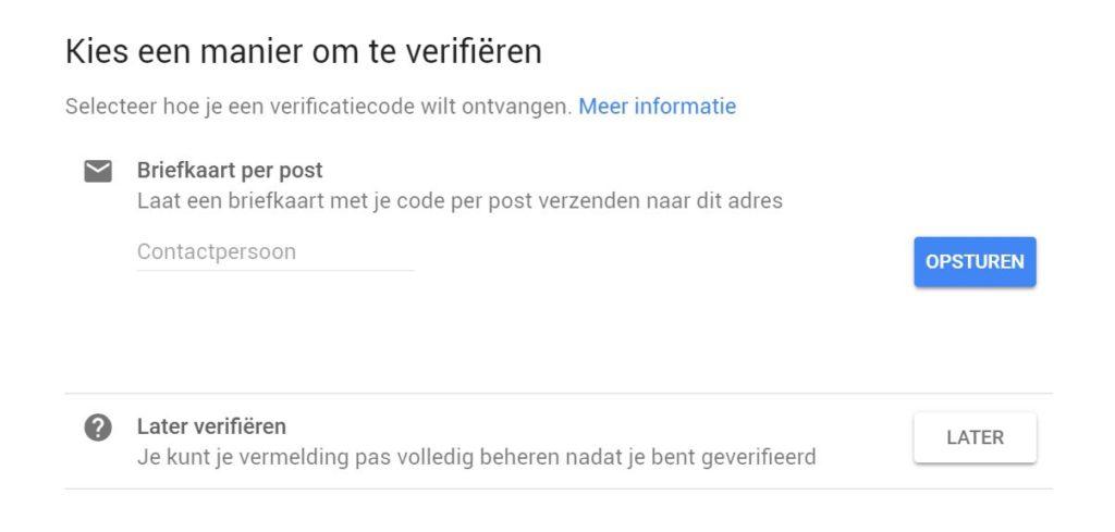 Google bedrijfspagina aanmaken verificatie