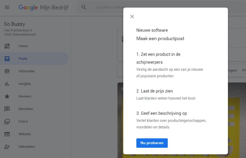 Google Posts nieuwe functie product