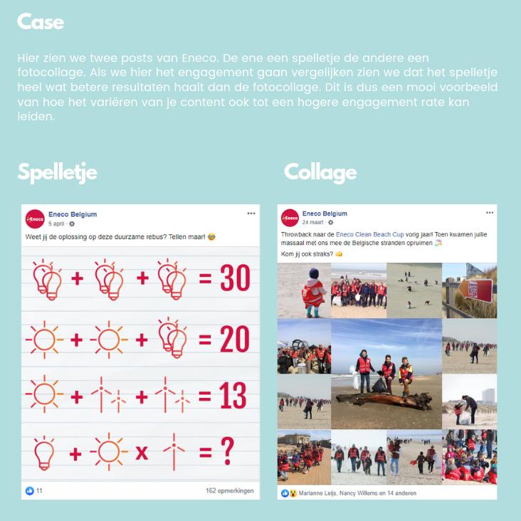 vergelijking van het engagement van een spelletje en collage