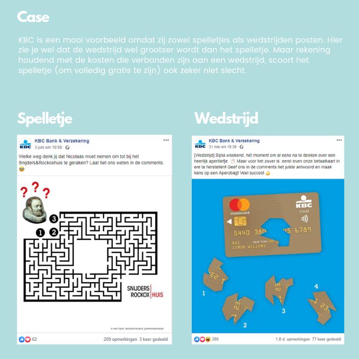 Vergelijking spelletje en wedstrijd sociale media