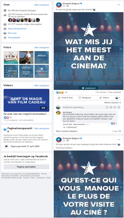Tweetalige Facebookpagina Kinepolis