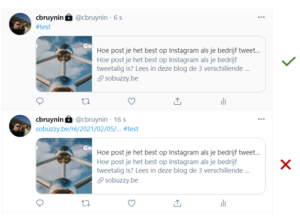 Hashtags Twitter voor hyperlink