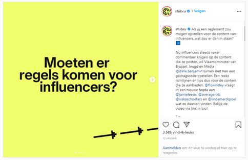 Instagrampost Studio Brussel Influencer Richtlijnen
