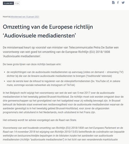 Omzetting van de Europese richtlijn Audiovisuele Mediadiensten artikel